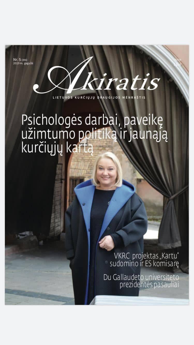 """Lietuvos kurčiųjų mėnesio žurnalo """"Akiratis"""" straipsnis-interviu su psichologe Rūta Mackaniene"""